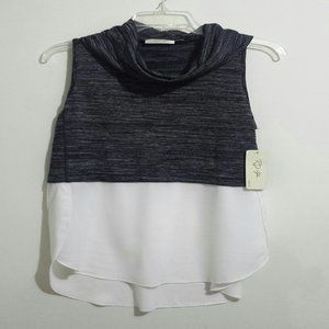 RD Style Grey and White Sleeveless Top